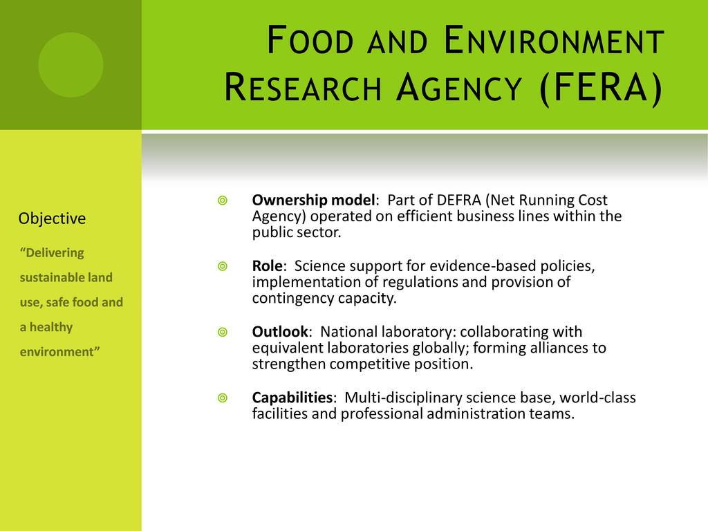 FOOD AND ENVIRONMENT RESEARCH AGENCY (FERA)  O...