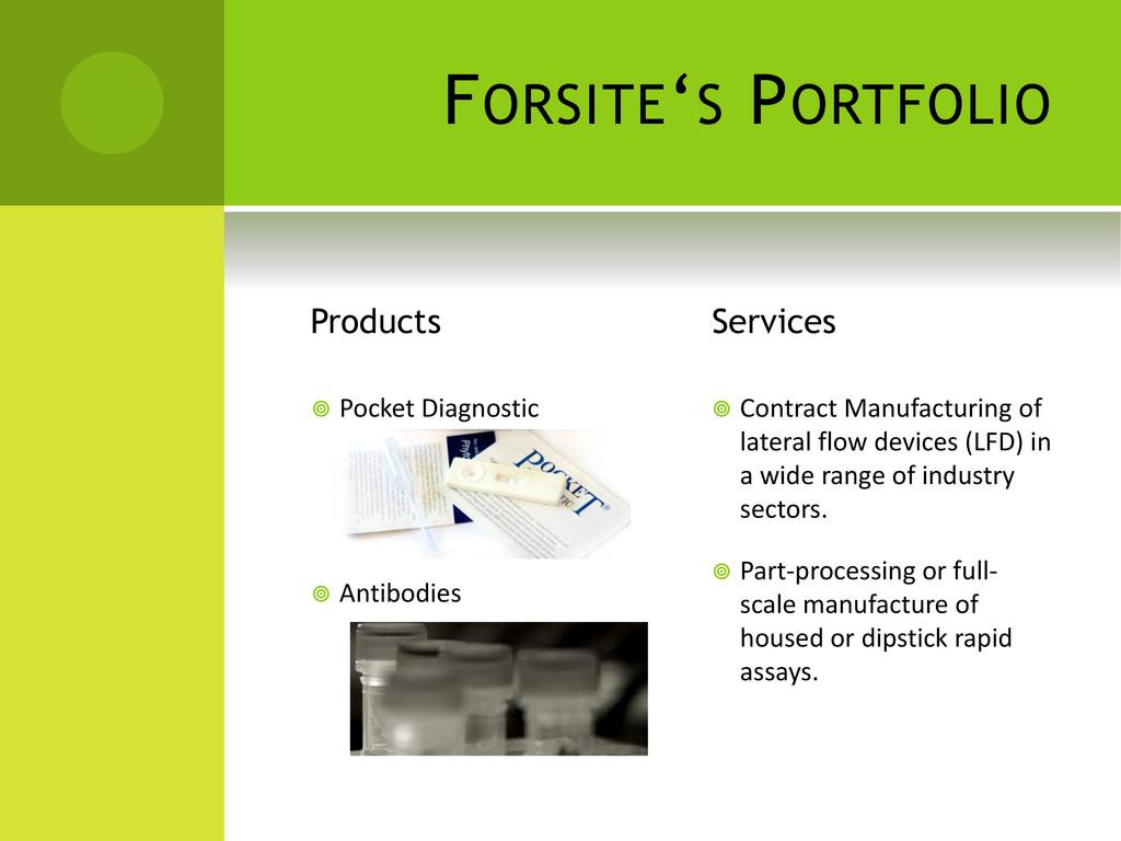 FORSITE'S PORTFOLIO Products  Pocket Diagnosti...