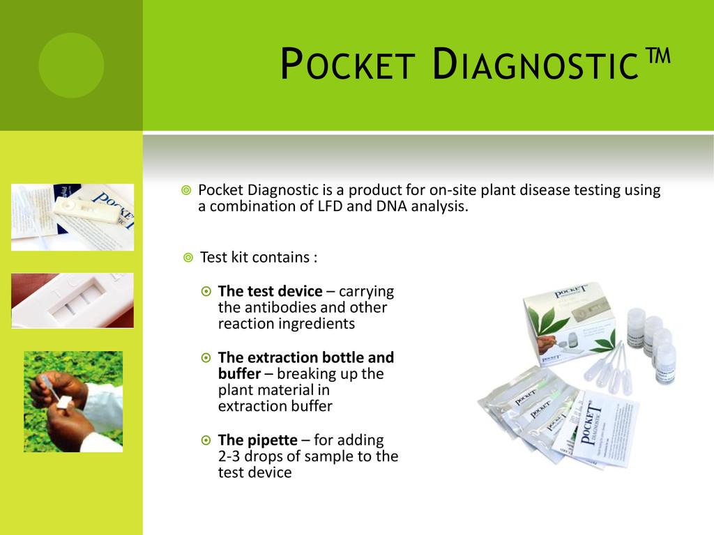 POCKET DIAGNOSTIC™  Test kit contains :  The ...