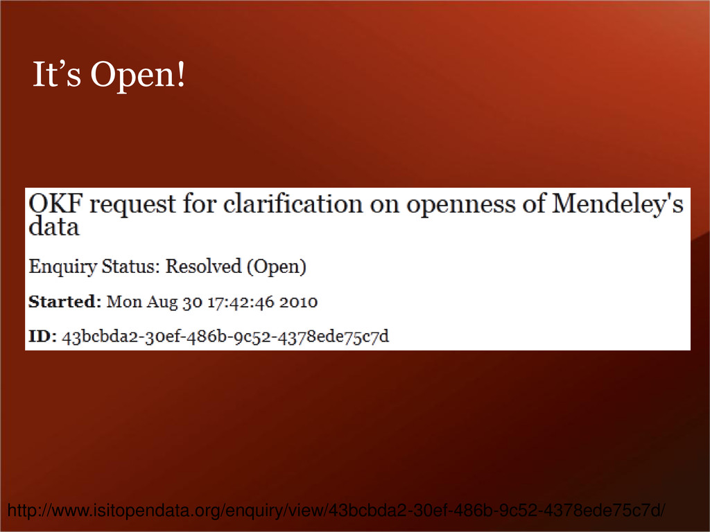 It's Open! http://www.isitopendata.org/enquiry/...