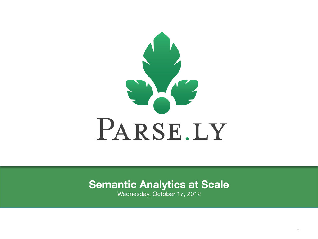 Semantic Analytics at Scale