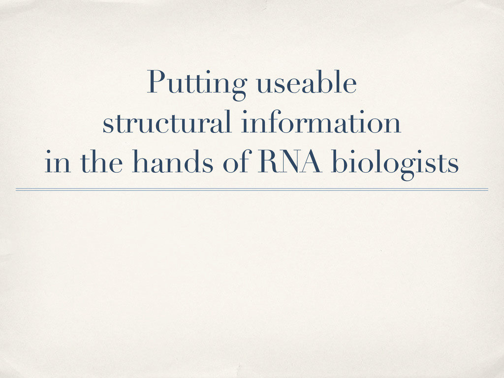 Putting useable structural information in the h...