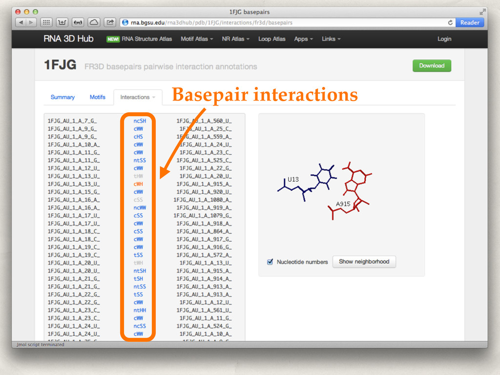 Basepair interactions