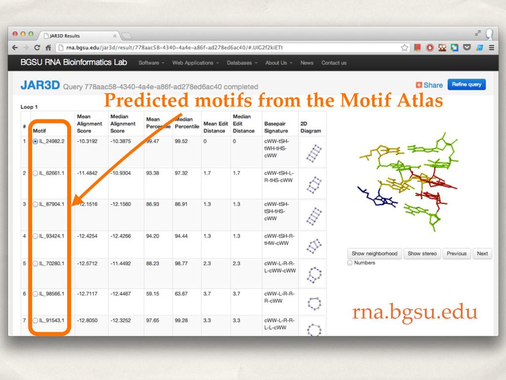 Predicted motifs from the Motif Atlas rna.bgsu....