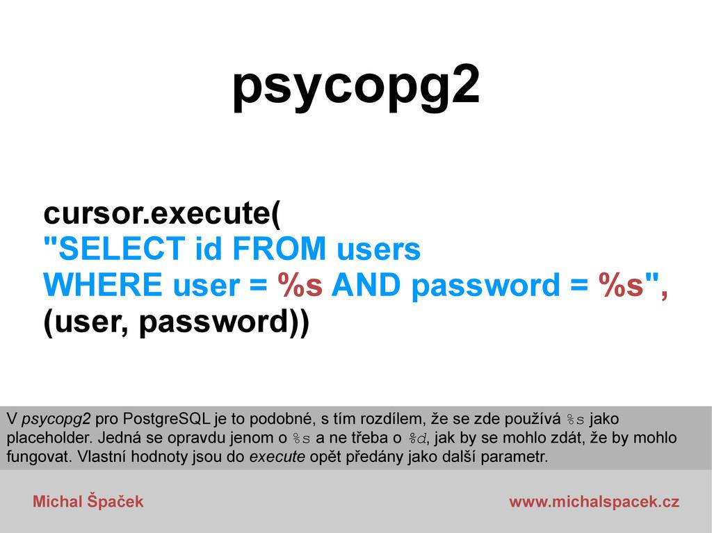 Michal Špaček www.michalspacek.cz psycopg2 curs...