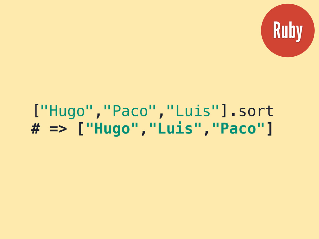 """[""""Hugo"""",""""Paco"""",""""Luis""""].sort # => [""""Hugo"""",""""Luis""""..."""