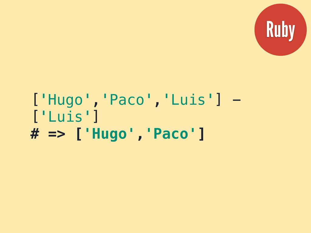 ['Hugo','Paco','Luis'] - ['Luis'] # => ['Hugo',...