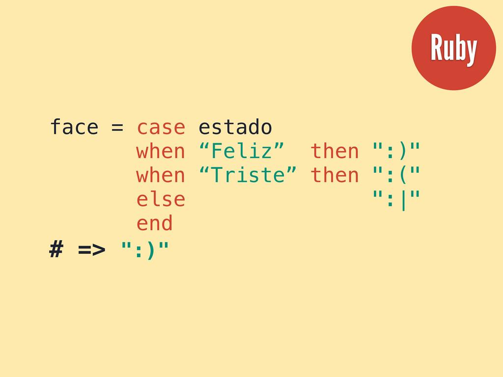 """face = case estado when """"Feliz"""" then """":)"""" when ..."""