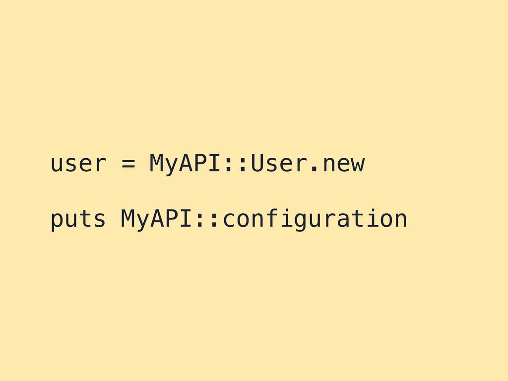 user = MyAPI::User.new puts MyAPI::configuration
