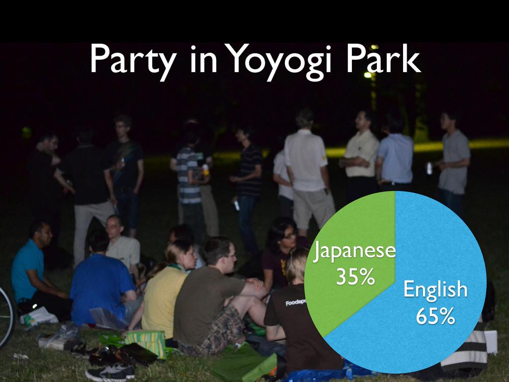 Japanese 35% English 65% Party in Yoyogi Park
