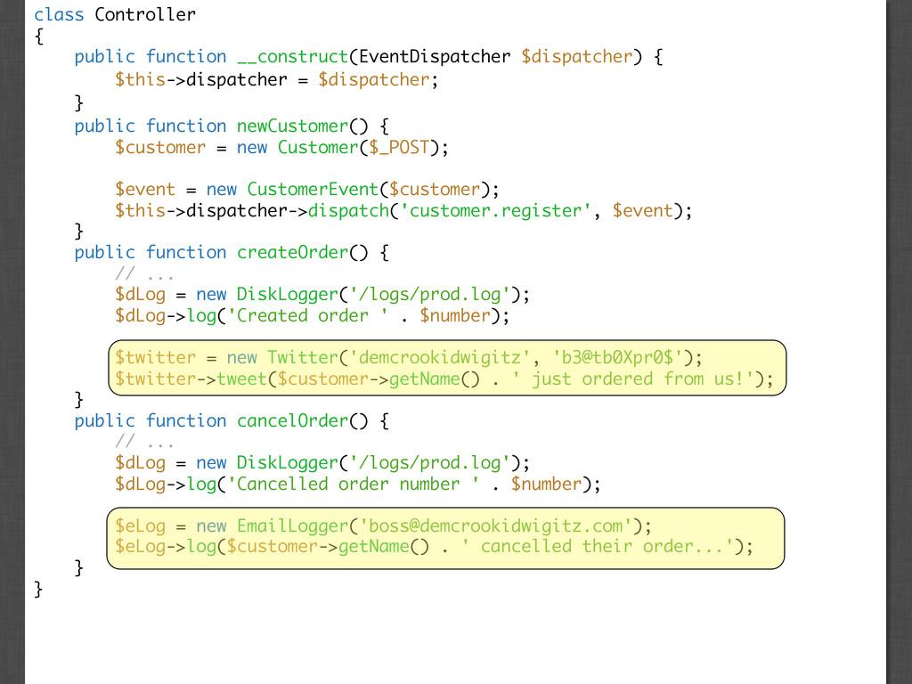 class Controller { public function __construct(...
