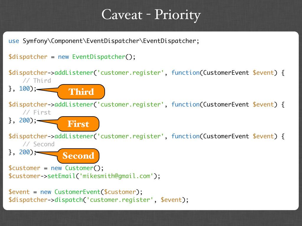 Caveat - Priority use Symfony\Component\EventDi...