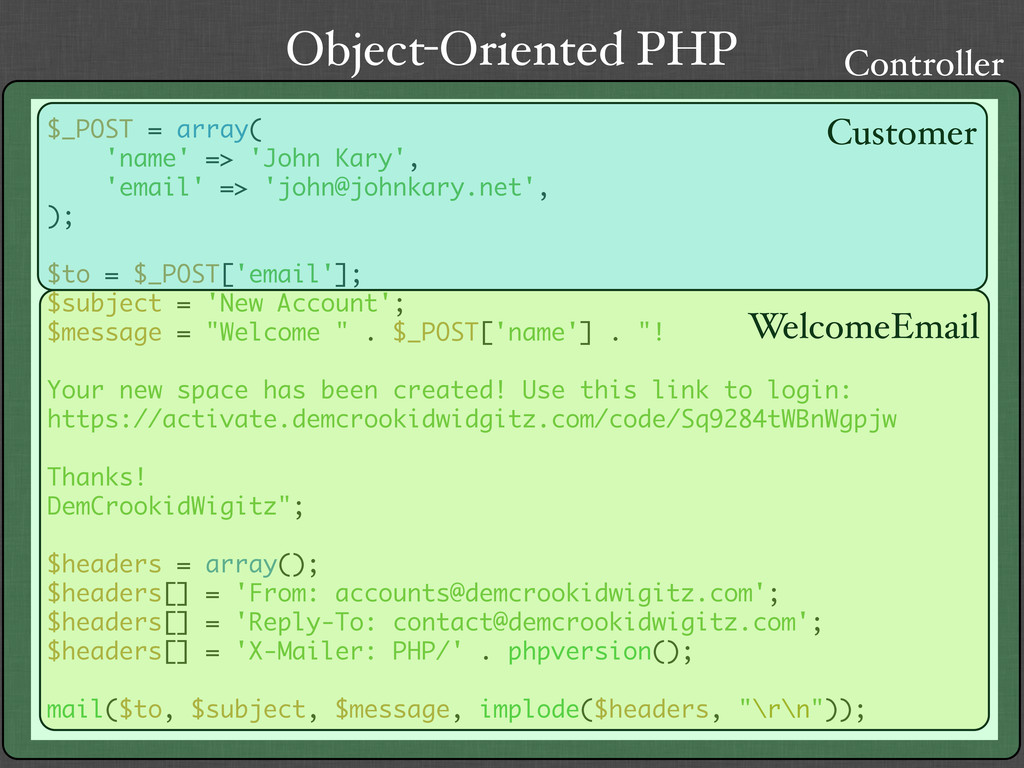 Object-Oriented PHP $_POST = array( 'name' => '...