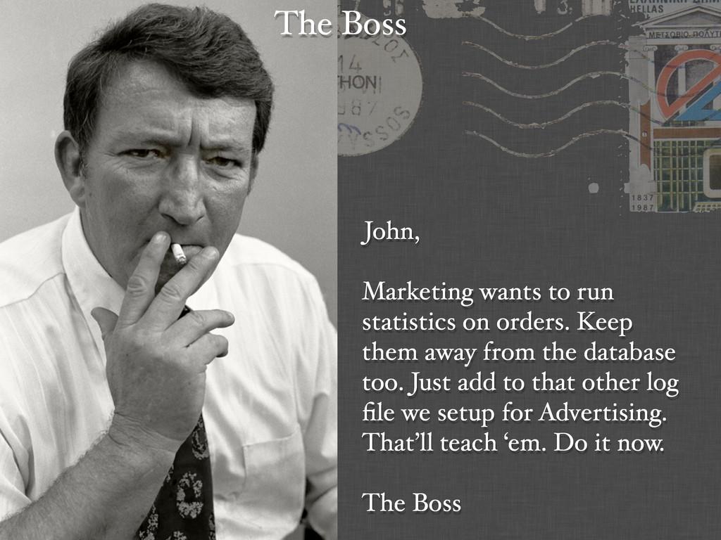 John, Marketing wants to run statistics on orde...