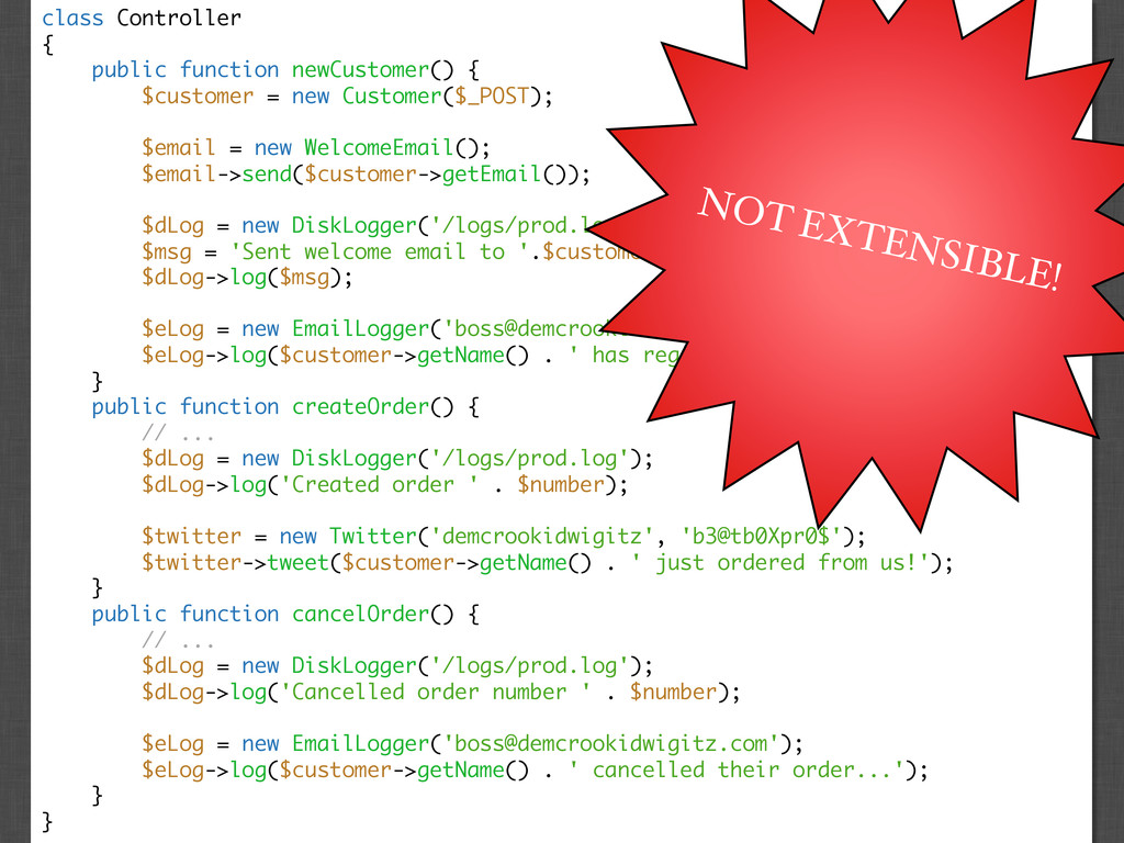 class Controller { public function newCustomer(...