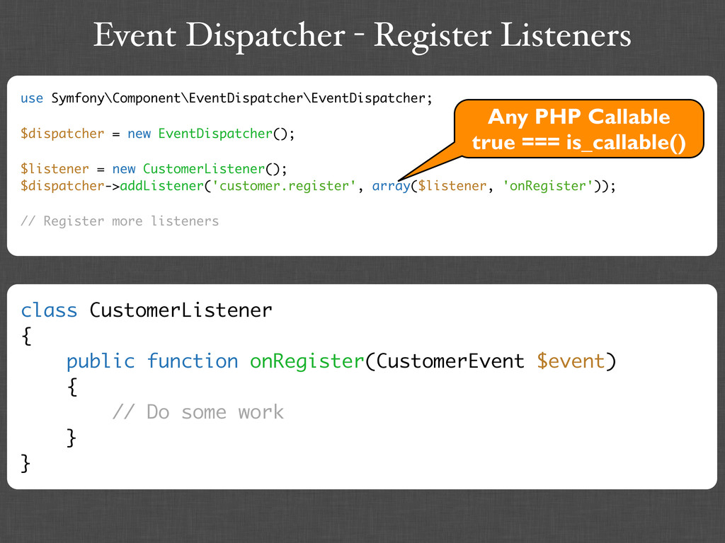 Event Dispatcher - Register Listeners use Symfo...