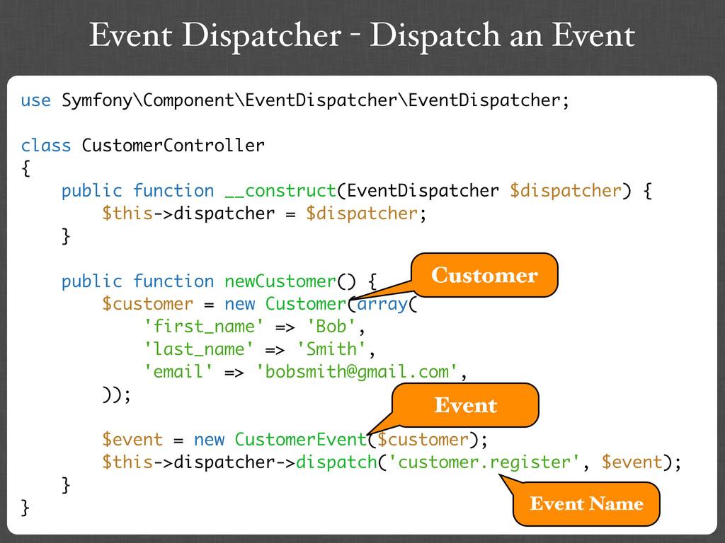 Event Dispatcher - Dispatch an Event use Symfon...