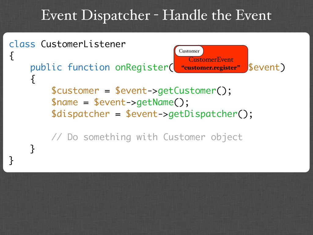Event Dispatcher - Handle the Event class Custo...