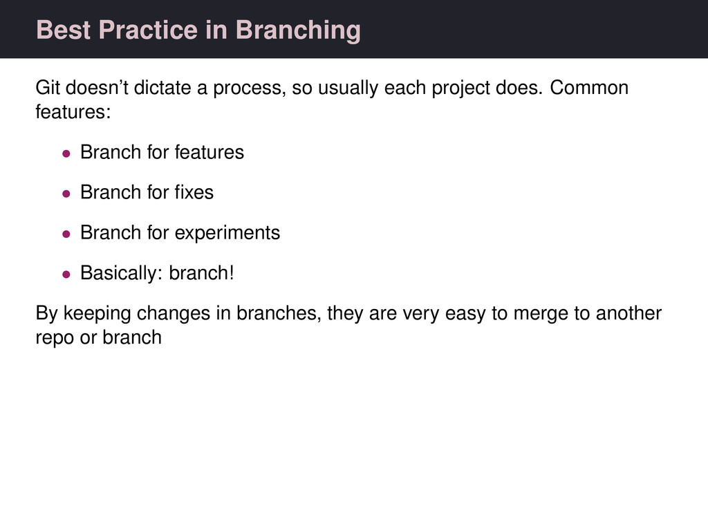 Best Practice in Branching Git doesn't dictate ...