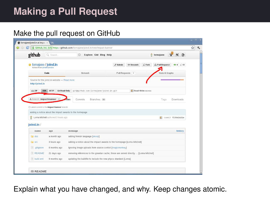 Making a Pull Request Make the pull request on ...