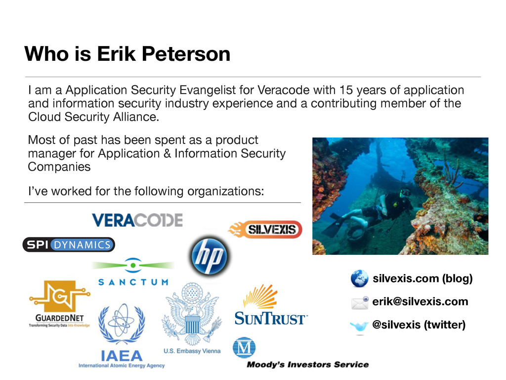 Who is Erik Peterson erik@silvexis.com @silvexi...