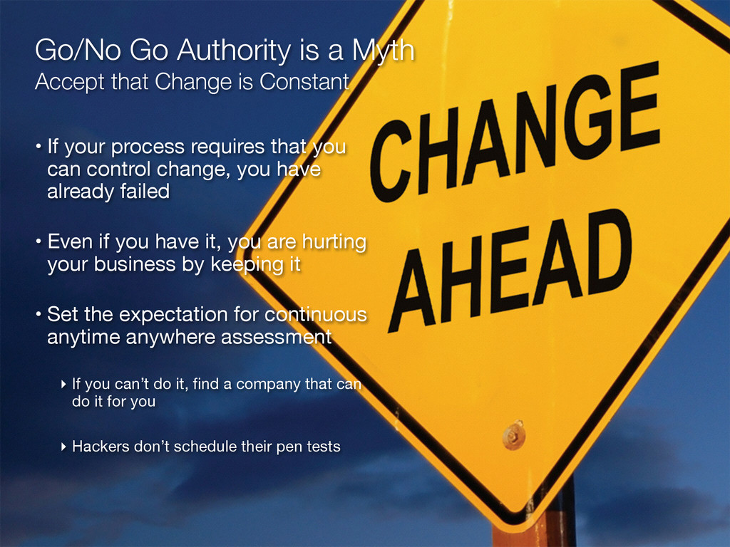 Go/No Go Authority is a Myth Accept that Chang...