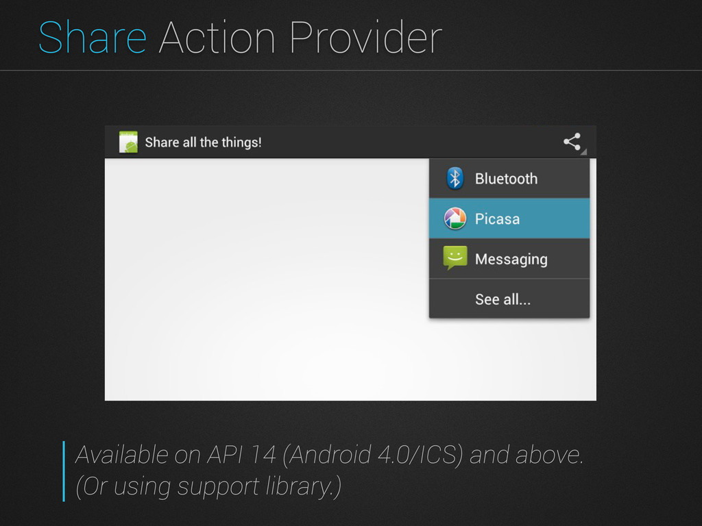 Share Action Provider Available on API 14 (Andr...