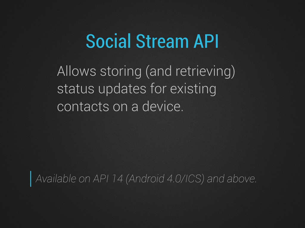 Social Stream API Allows storing (and retrievin...