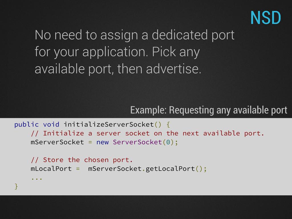 NSD public void initializeServerSocket() { // I...