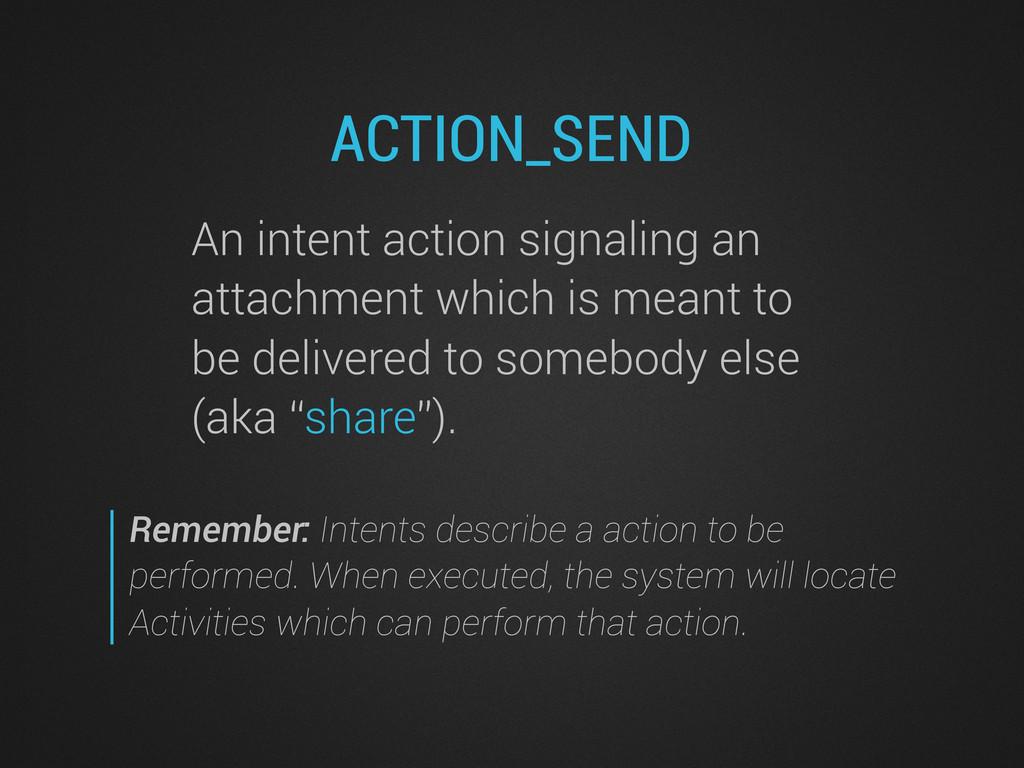 ACTION_SEND An intent action signaling an attac...