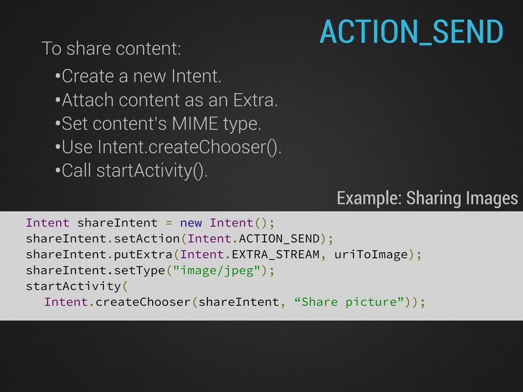 Intent shareIntent = new Intent(); shareIntent....