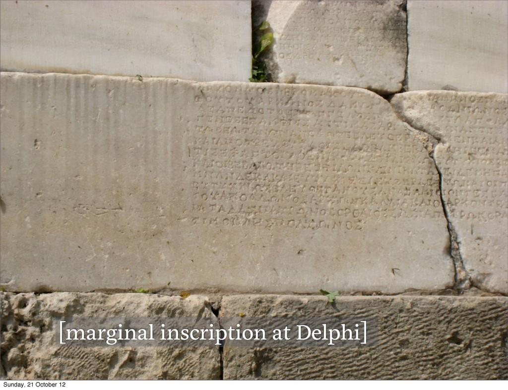 [marginal inscription at Delphi] Sunday, 21 Oct...