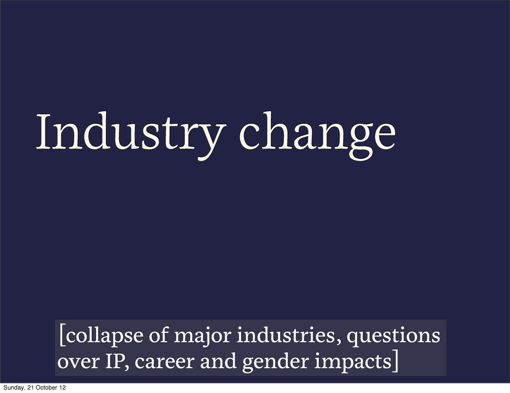 Industry change [collapse of major industries, ...