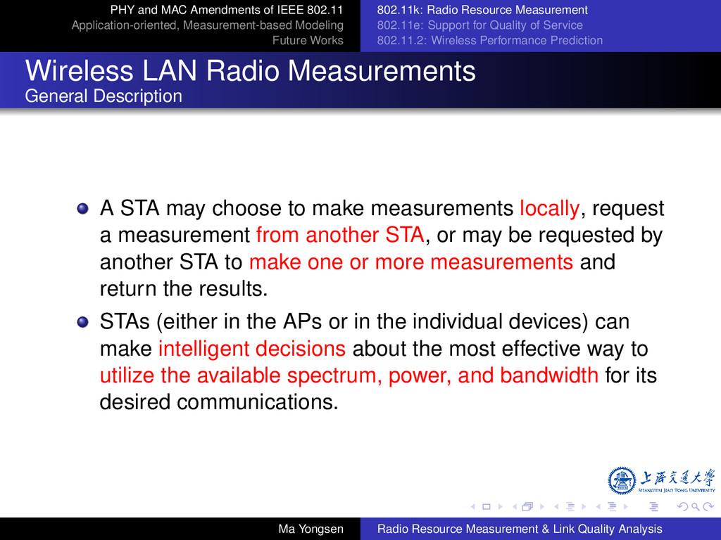 PHY and MAC Amendments of IEEE 802.11 Applicati...