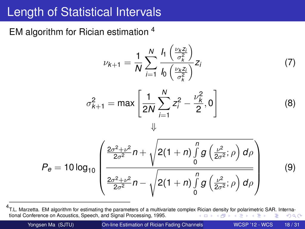 Length of Statistical Intervals EM algorithm fo...