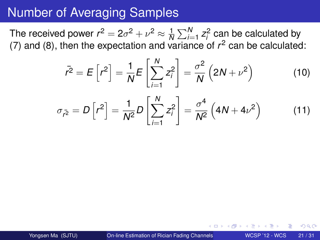 Number of Averaging Samples The received power ...