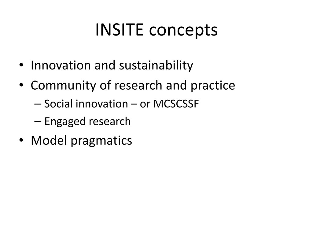 INSITE concepts • Innovation and sustainability...
