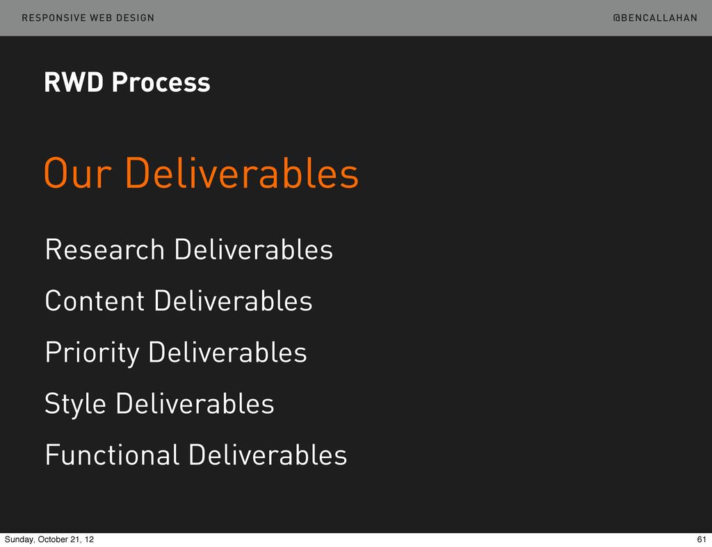 @BENCALLAHAN RESPONSIVE WEB DESIGN Our Delivera...