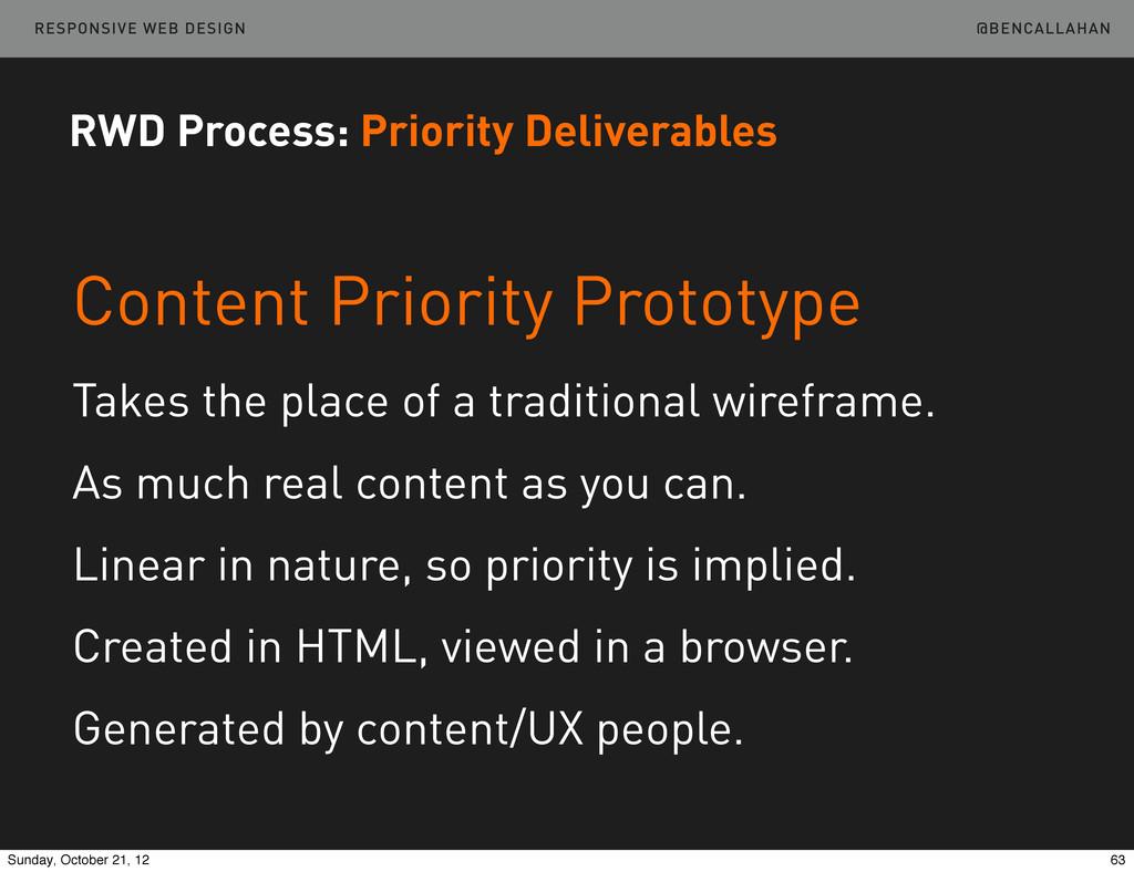@BENCALLAHAN RESPONSIVE WEB DESIGN Content Prio...
