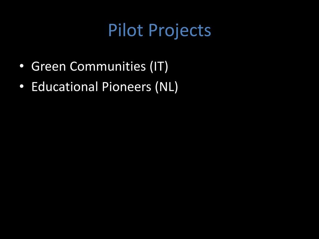 Pilot Projects • Green Communities (IT) • Educa...