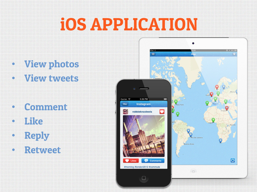 iOS APPLICATION • View photos • View tweets •...