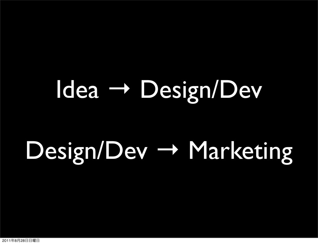 Idea → Design/Dev Design/Dev → Marketing 2011೥8...