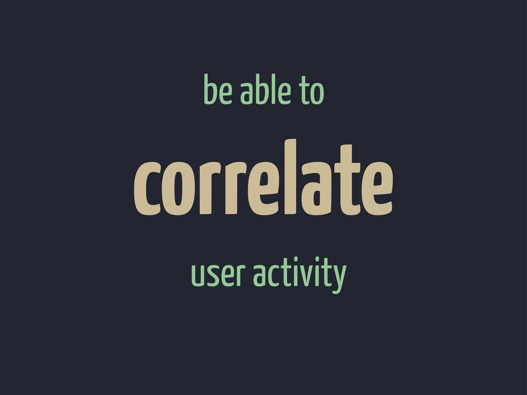 user activity correlate be able to