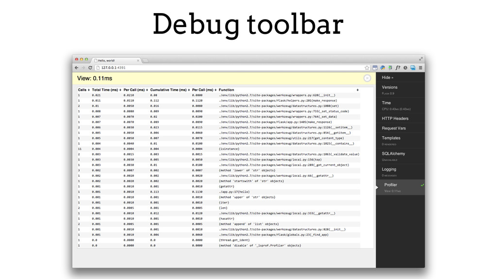 Debug toolbar