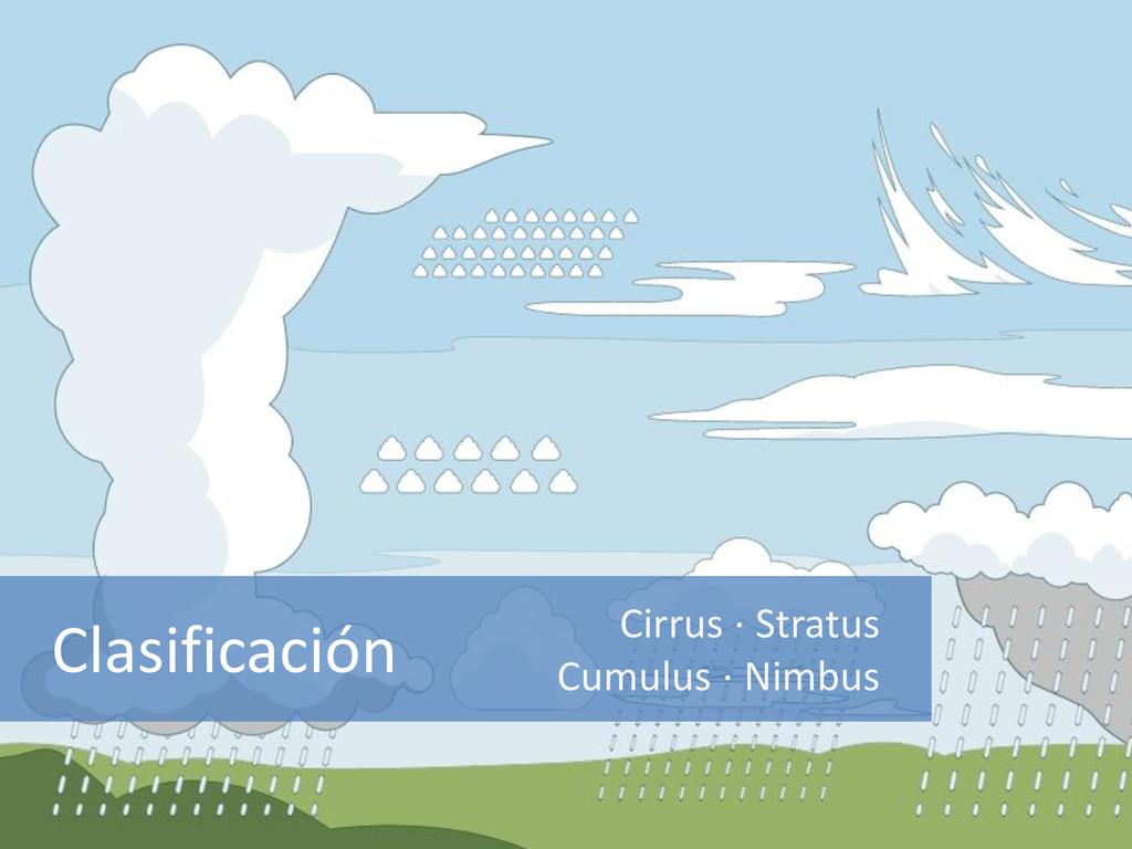 Clasificación Cirrus · Stratus Cumulus · Nimbus