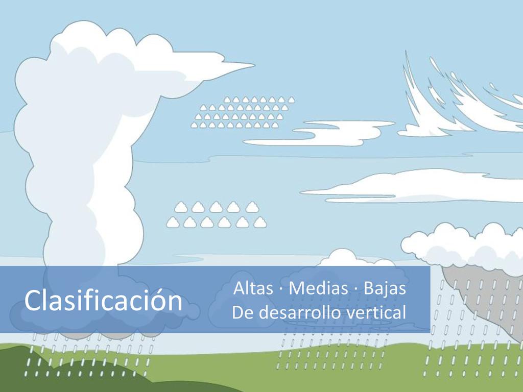 Clasificación Altas · Medias · Bajas De desarro...