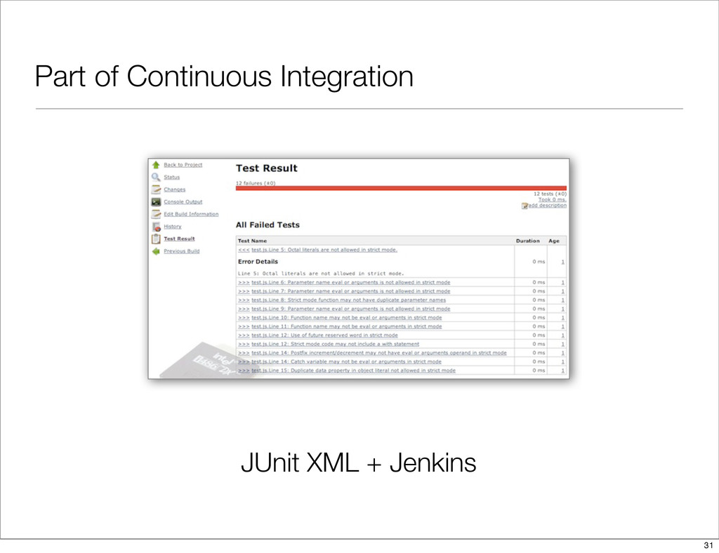 Part of Continuous Integration JUnit XML + Jenk...