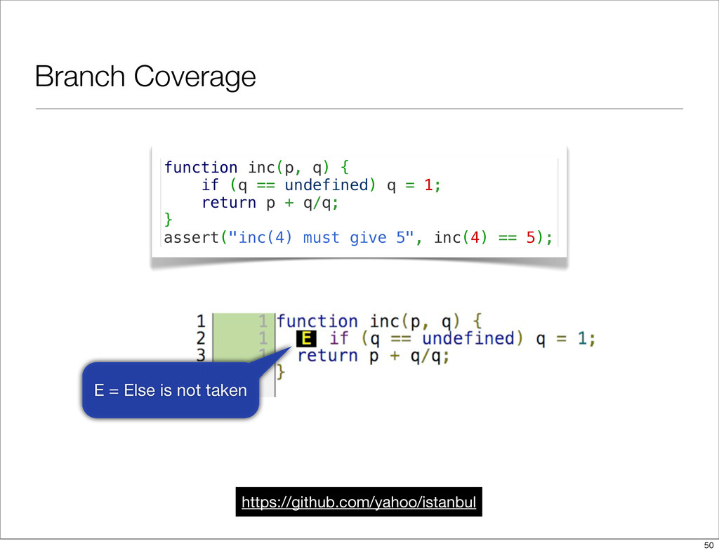 Branch Coverage https://github.com/yahoo/istanb...