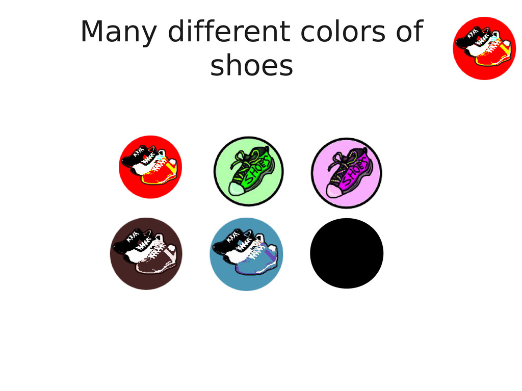 Many different colors of shoes
