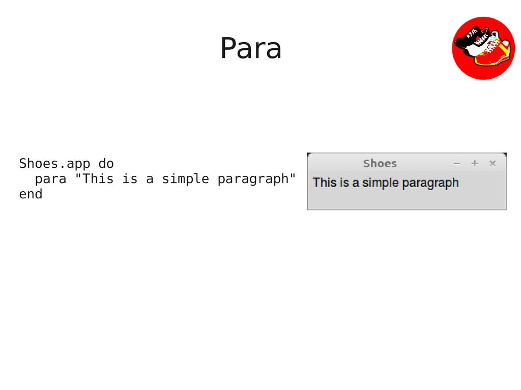 "Para Shoes.app do para ""This is a simple paragr..."
